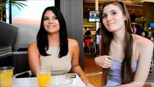 Eva Celeste & Violet Starr flashing in restaurant