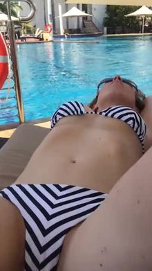 Fingered by the poolside