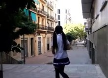 Showing Off Publically In Her Schoolgirl Outfit
