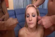 Pornstar gags from 1st cumshot in a bukkake...it's gonna be a long day