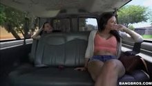 Sultry brunette Alexis fucks on the BangBus
