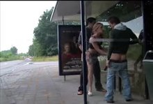 Chick Gets Both Ends Filled At A Public Bus Shelter