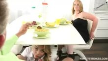 Sucking Daddy`s Dick under the breakfast table