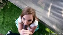 Maddy O'Reilly is pretty glad to suck such big black penis