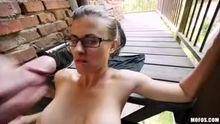 Sexy facial for Katia outdoors