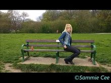 Sammie Cee on the park bench