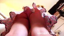 Carmel Anderson - Lace Pink Panties Upskirt