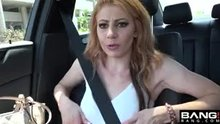 Flashing perky boobies in the car