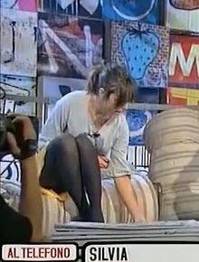 Valeria Bilello showing legs in black pantyhose