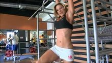 Hot and fit blondie at the gym wearing tight white shorts