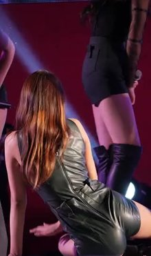 Asian tight leather shorts