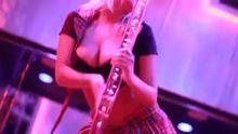 Bibi Jones at a strip club