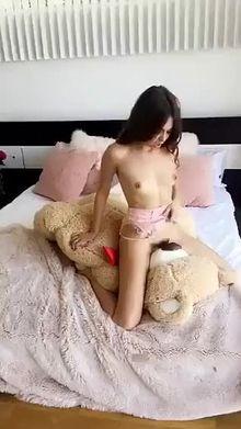 Riley Reid humping a Teddy Bear